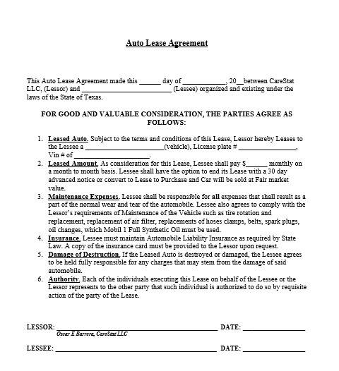 Car or Auto Leasing Agreement Template 01
