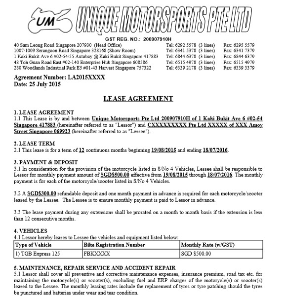 Car or Auto Leasing Agreement Template 03