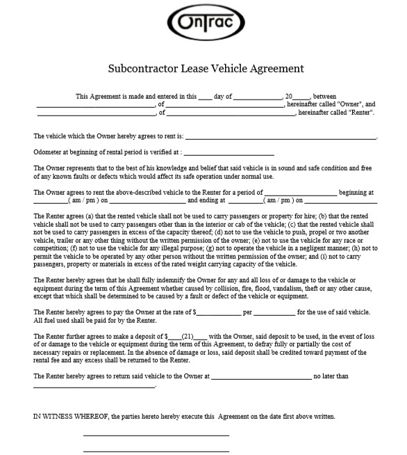 Car or Auto Leasing Agreement Template 11