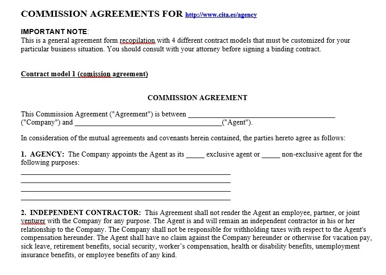 Commission Agreement Template 05