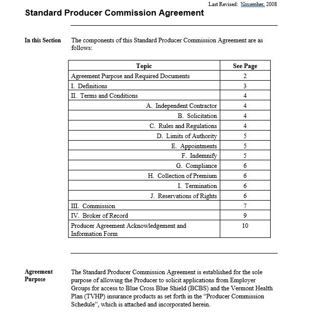 Commission Agreement Template 06