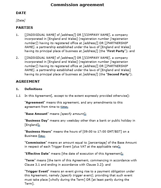 Commission Agreement Template 07