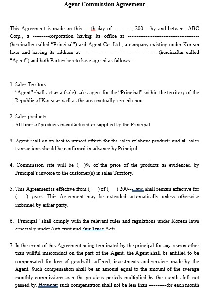 Commission Agreement Template 09
