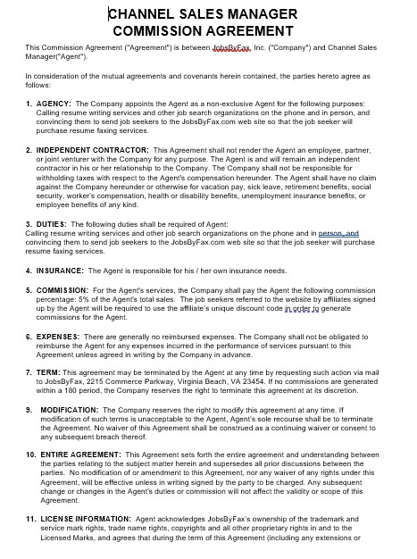 Commission Agreement Template 22
