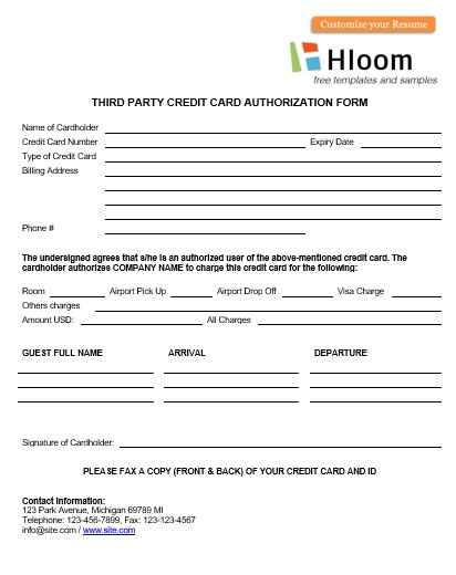 Simple Credit Card Authorization Forms