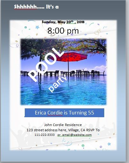 Pool Party Invitation Template 01