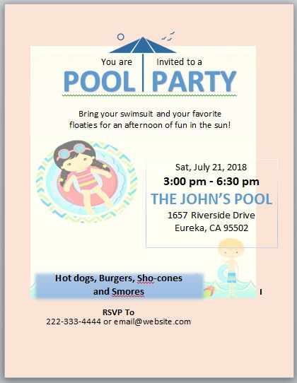 Pool Party Invitation Template 02