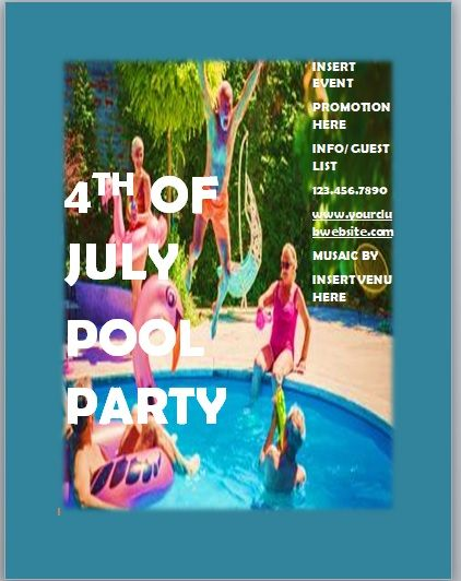Pool Party Invitation Template 03