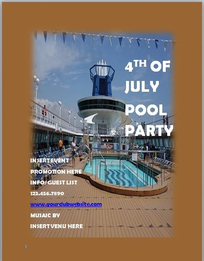 Pool Party Invitation Template 04