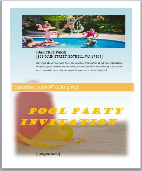 Pool Party Invitation Template 05