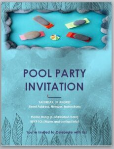 Pool Party Invitation Template 06