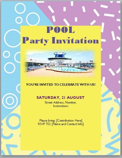 Pool Party Invitation Template 07
