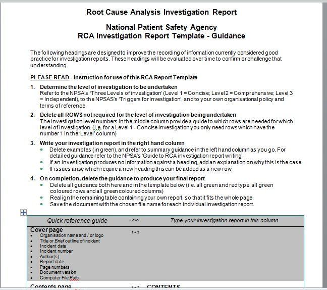 Root Cause Analysis Template 24
