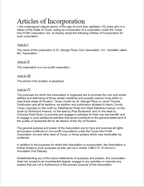 articles of incorporation template 10
