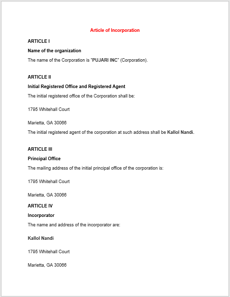 articles of incorporation template 14