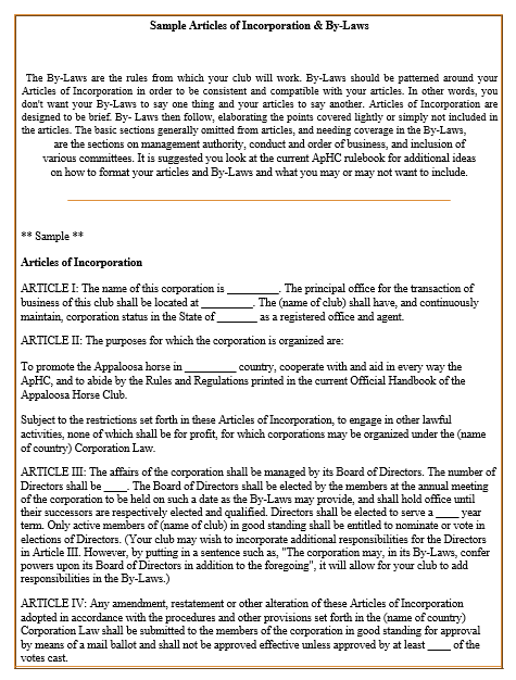 articles of incorporation template 21