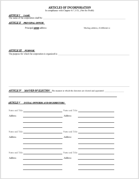 articles of incorporation template 22