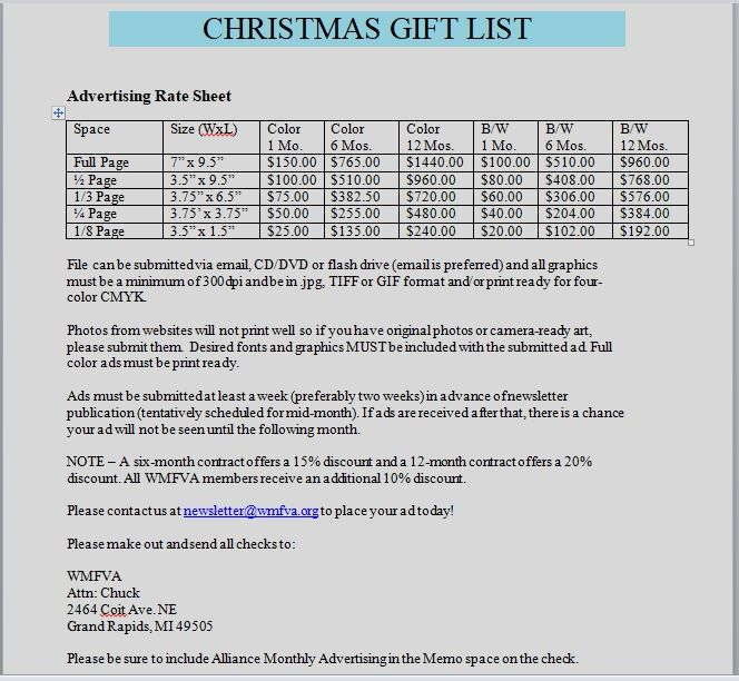 Christmas gift list template 02