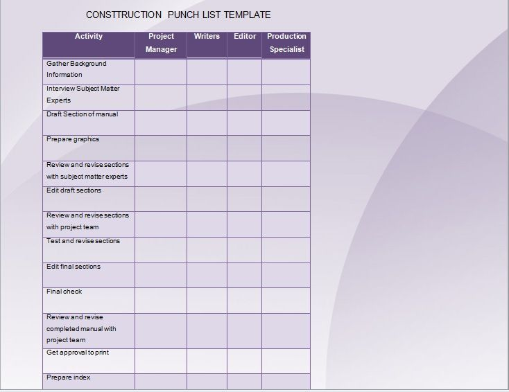 Construction Punch List Template 01