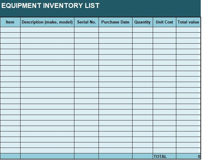 Equipment Inventory List Template 02
