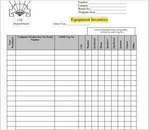 Equipment Inventory List Template 03