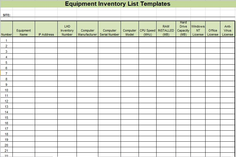 Equipment Inventory List Template 04