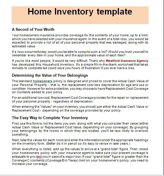Household Inventory List Template 01