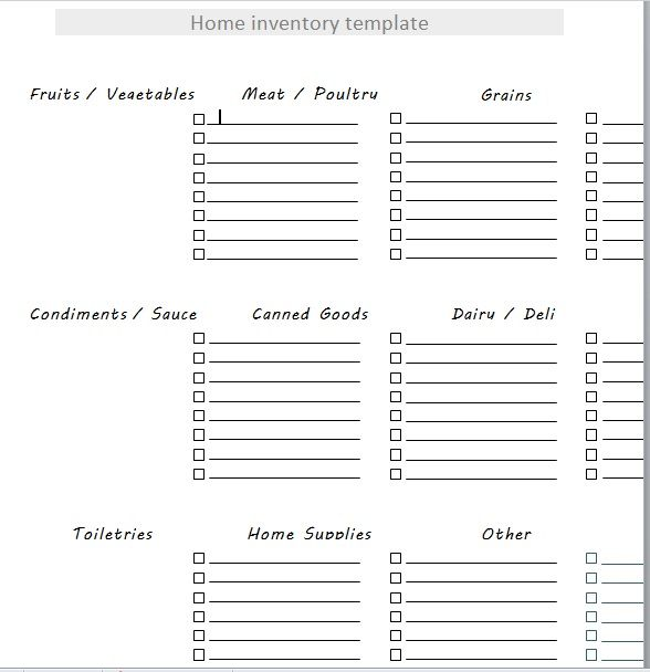Household Inventory List Template 02