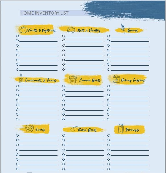 Household Inventory List Template 07