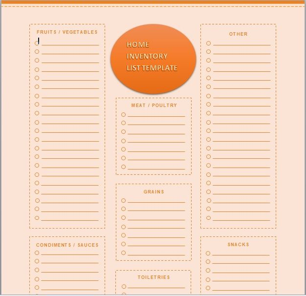 Household Inventory List Template 11