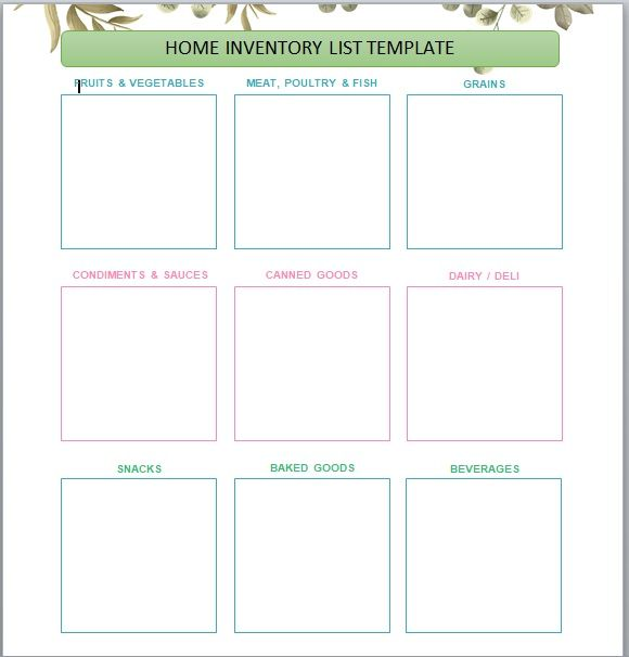 Household Inventory List Template 12