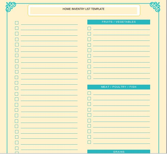Household Inventory List Template 13