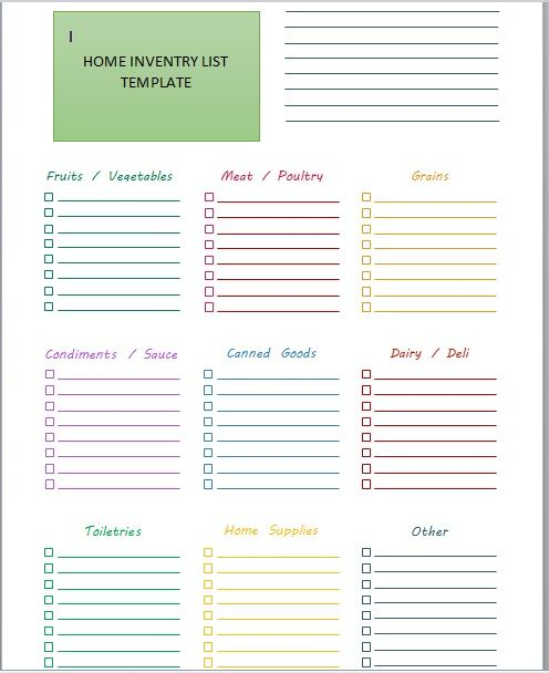 Household Inventory List Template 14