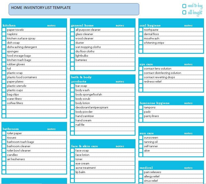 Household Inventory List Template 16