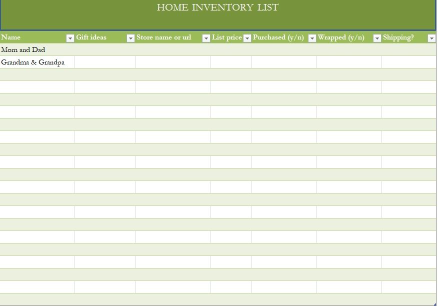 Household Inventory List Template 17