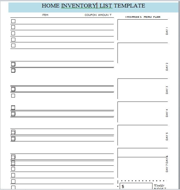 Household Inventory List Template 19