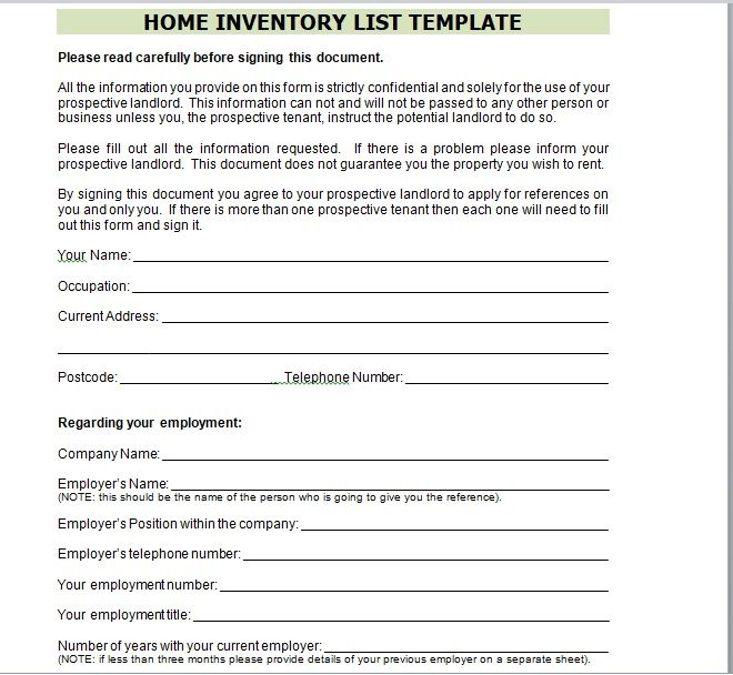 Household Inventory List Template 24