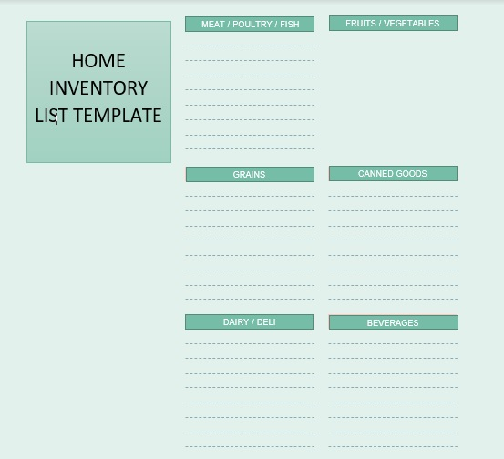 Household Inventory List Template 09