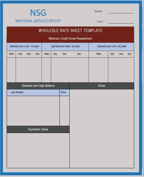 Wholesale rate sheet template 06