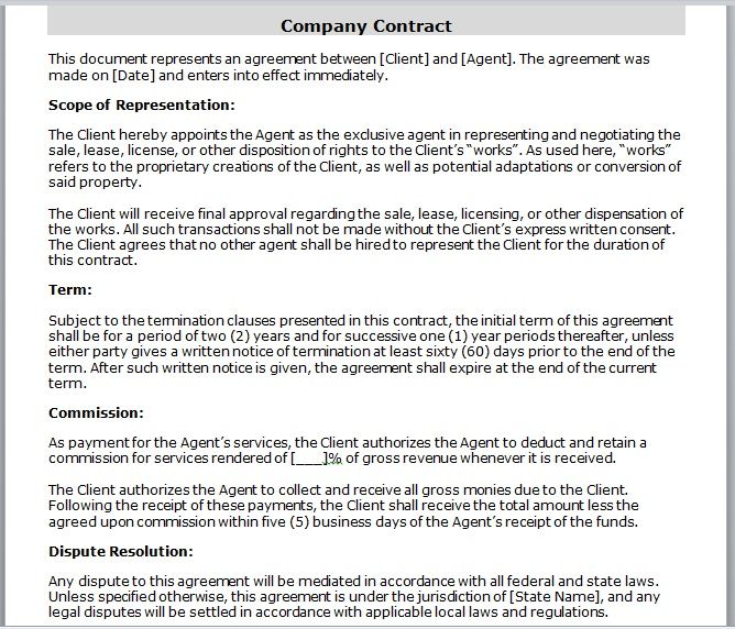 company contract template 01