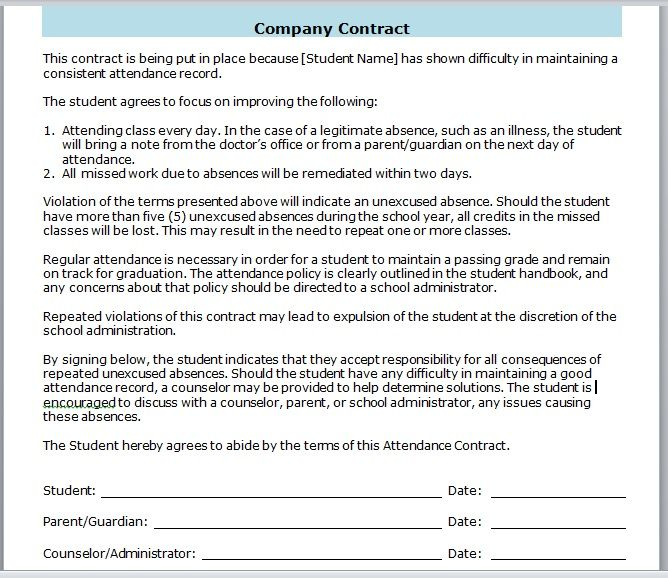 company contract template 02