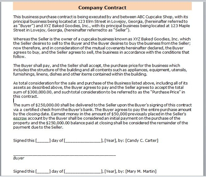 company contract template 03