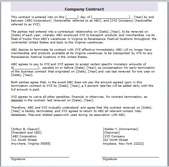 company contract template 04
