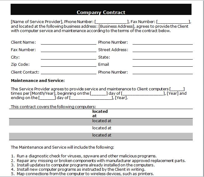 company contract template 07