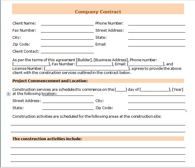 company contract template 08