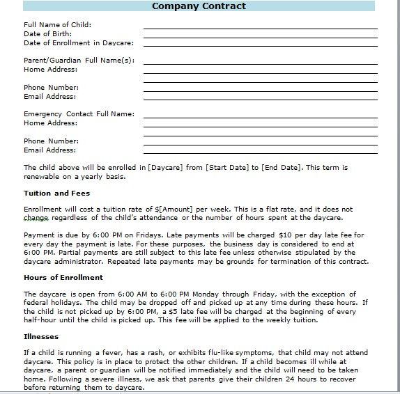 company contract template 09