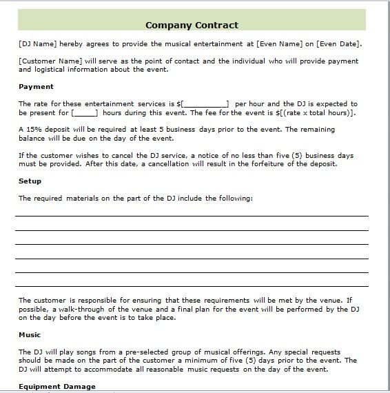 company contract template 10