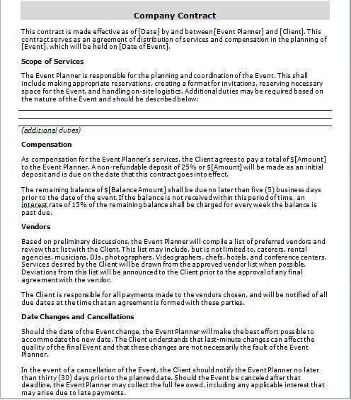 company contract template 12