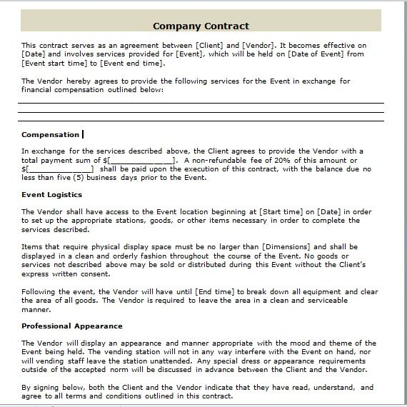 company contract template 13