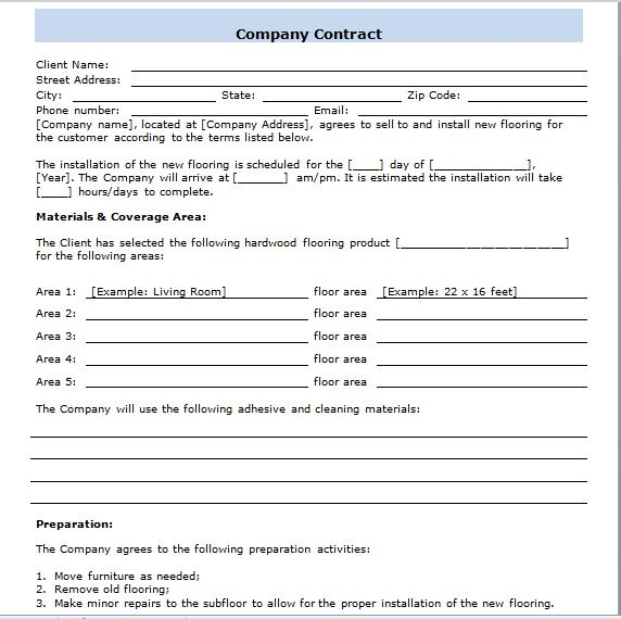 company contract template 14